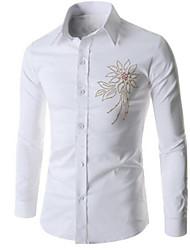 Men's Print Casual Shirt,Cotton Long Sleeve Black / White