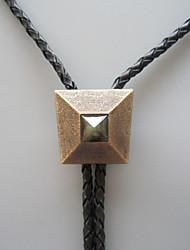 Original Antique Gold Plated Nature Labradorite Stone Window of Pyramid Bolo Tie