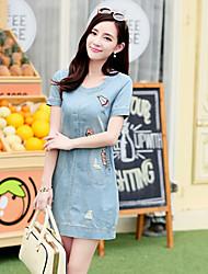 Women's Casual/Party/Work Round Short Sleeve Dresses (Denim)