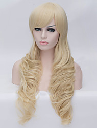 European and American Fashion Light Golden Inclined Bang Curly  Hair Wig