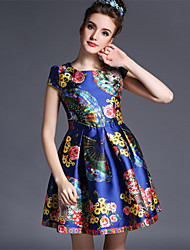 Summer 2015 Women's Vintage Casual Fashion Print Flower Europe Style Short Sleeve Elegance Short Princess Dress