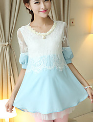 Maternity Casual Round Collar Pearls Lace Stitching Chiffon Short Sleeve Dress