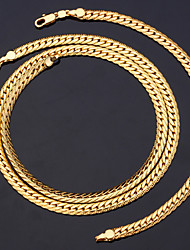 Fancy Cool Cuban Snake Link Chain 18K Chunky Gold Plated Necklace Bracelet Set Unisex High Quality 18K Stamp 6MM 55CM