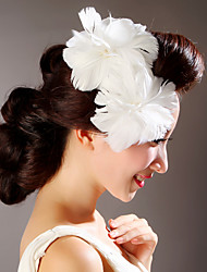 Women Feather White Flowers With Wedding/Party Headpiece