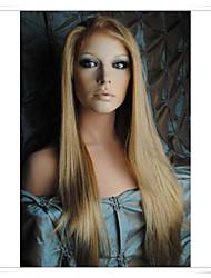 """blonde 8 """"-22"""" 100% maagdelijk menselijk haar steil lijmloze volledige kant / lace front pruiken lwg005 foto kleur # 27/613 lengte 20 """""""