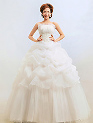 Ball Gown Floor-length Wedding Dress -Scalloped-Edge Organza