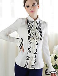 Long Sleeve Ruffle Trim White Classic Lolita Blouse