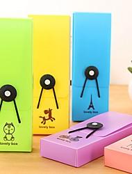 Cute Candy Color Plastic Pencil Box with Elastic Cord Random Color