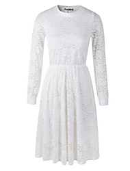 Women's Vintage Casual Lace Party Work Micro Elastic Long Sleeve Knee Length Dress   Lace