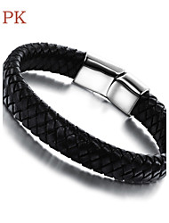 OPK®Cool Rock Character Titanium Steel Magnetic Clasp Double Leather Woven Men's Bracelet