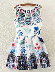 Aimei Women's Vintage Floral Print Sleeveless Fashion Dress (Cotton Blends)