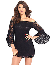 Women's Black Lace Off-The-Shoulder Mini Dress