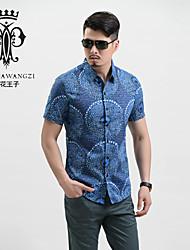 YINHUAWANGZI®Men's Shirts Exempt Iron Casual/Slinky/Plus Sizes Short Sleeves Printing Shirts (100% Cotton)