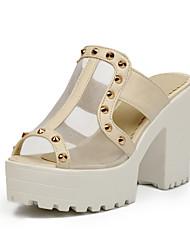 Sandales/Chaussons ( Rose/Blanc Chaussures à talons/Bout ouvert/Semelle compensée/Spartiates - Talonnette - Similicuir - pour FEMMES