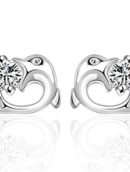 lureme® European Style Silver Plated Dolphin Shape with Zircon Stud Earrings