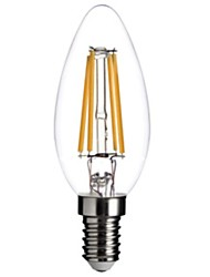 4w e14 led bulbos de filamento c35 cob 350lm lm cálido blanco dimmable ac decorativa 220-240 v