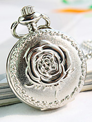 flor esfera redonda patrón de la moda collar de cuarzo de las mujeres ver el reloj de bolsillo