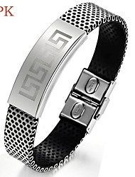 OPK®Men's Great Wall Lines Hollow Out Titanium Steel Buckles Leather Bracelet