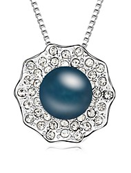 Yearn Day And Night Short Necklace Plated with 18K True Platinum Crystal Clear Crystallized Austrian Crystal Stones