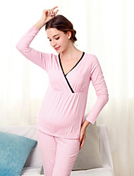 Women's Sexy Stretchy Long Sleeve Regular Maternity Clothing Set