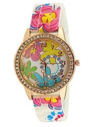 relógios banda diamante padrão de borracha das mulheres