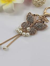 Fashion Unisex Shining Diamond Alloy Simulated-pearl Butterfly Tassel Pendant Keychains