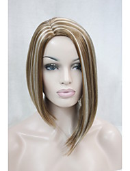 Asymmetrical No Bangs Strawberry Blonde With Blonde highlight side skin top wig