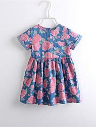 Girl's Fashion Floral Print Short Sleeve Denim Dresses