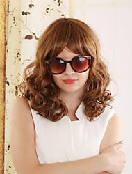kvinnor syntetisk brun peruk vatten våg 14 tum