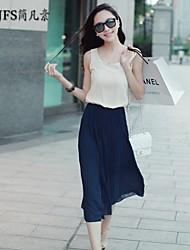 Women's Beach/Casual/Party/Plus Sizes Micro-elastic Sleeveless Knee-length Dress (Chiffon)