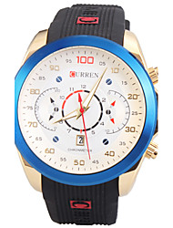 Man's Quartz Wrist Watch Round Dial Fashion Silicone Strap With Calendar (Assorted Colors) Cool Watch Unique Watch