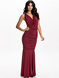 Women's Cowl Neck Draped Chain Maxi Dress
