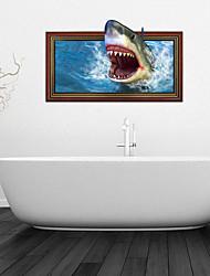3d Stickers muraux stickers muraux, requin décoration salle de bain murale pvc stickers muraux