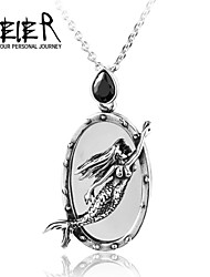 Mermaid On The Mirror Pendant Stainless Steel Big Man's Jewelry Pedant