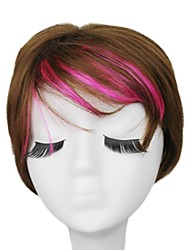 Capless Top Grade Synthetic Brown Side Bangs Womens Wig