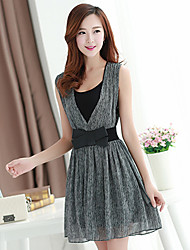 Women's Dress , Chiffon Gray Casual