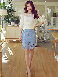 Damen Röcke  -  Spitze Übers Knie Spitze Mikro-elastisch