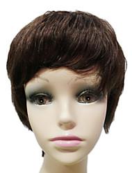 100% Human Hair Capless Short Brown Burly Womens Wigs