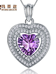 S925 Sterling Silver  Amethyst Gemstone Heart Shape Pendant Necklace
