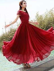 Women's Lace Micro-elastic Short Sleeve Maxi Dress (Chiffon) (More Colors)