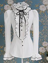 bladerdeeg lange koker witte zoete prinses lolita blouse