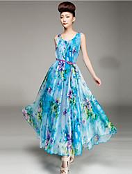 Women's Beach Dress,Floral Maxi Sleeveless Blue / Pink Polyester Summer