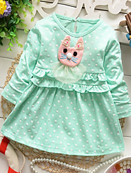 Girl's Summer/Spring/Fall Micro-elastic Medium Long Sleeve Dresses (Cotton)