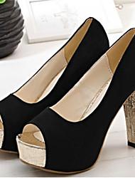 Women's Shoes Chunky Heel Peep Toe Pumps Dress Black/Blue