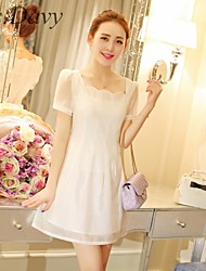 Women's Vintage/Sexy/Casual/Party/Work Inelastic Short Sleeve Above Knee Dress (Organza/Mesh)