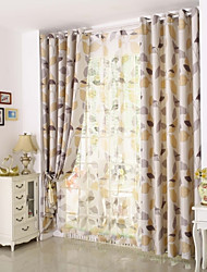 Country Curtains® One Panel Beige Leaf Printing Blackout Curtain Drape