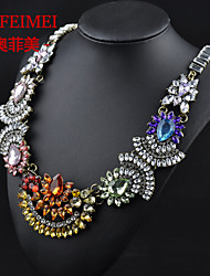The new US and European high-grade alloy diamond jewelry sweater chain necklace rainbow jewelry female models