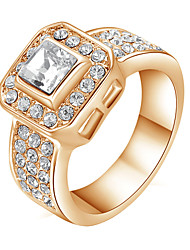 T&C Women's 18k Rose Gold Plated 1.2ct Princess Cut Square Clear Swiss Cz Diamond Engagement Ring