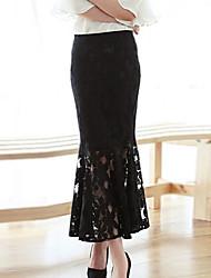 saias bodycon / casuais / maxi laço do vintage das mulheres, laço / algodão combina micro-elástica branco / preto