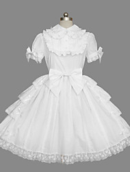 Short Sleeve Knee-Length White Cotton Classic Lolita Dress with Bow
